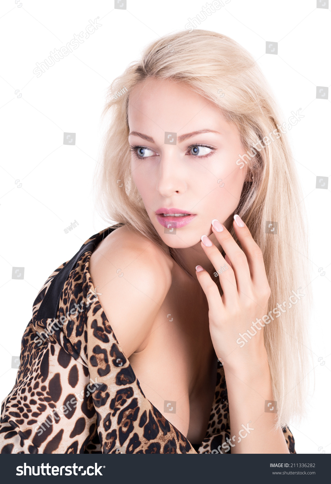 Fashion model with blue eyes and blonde hair on white background