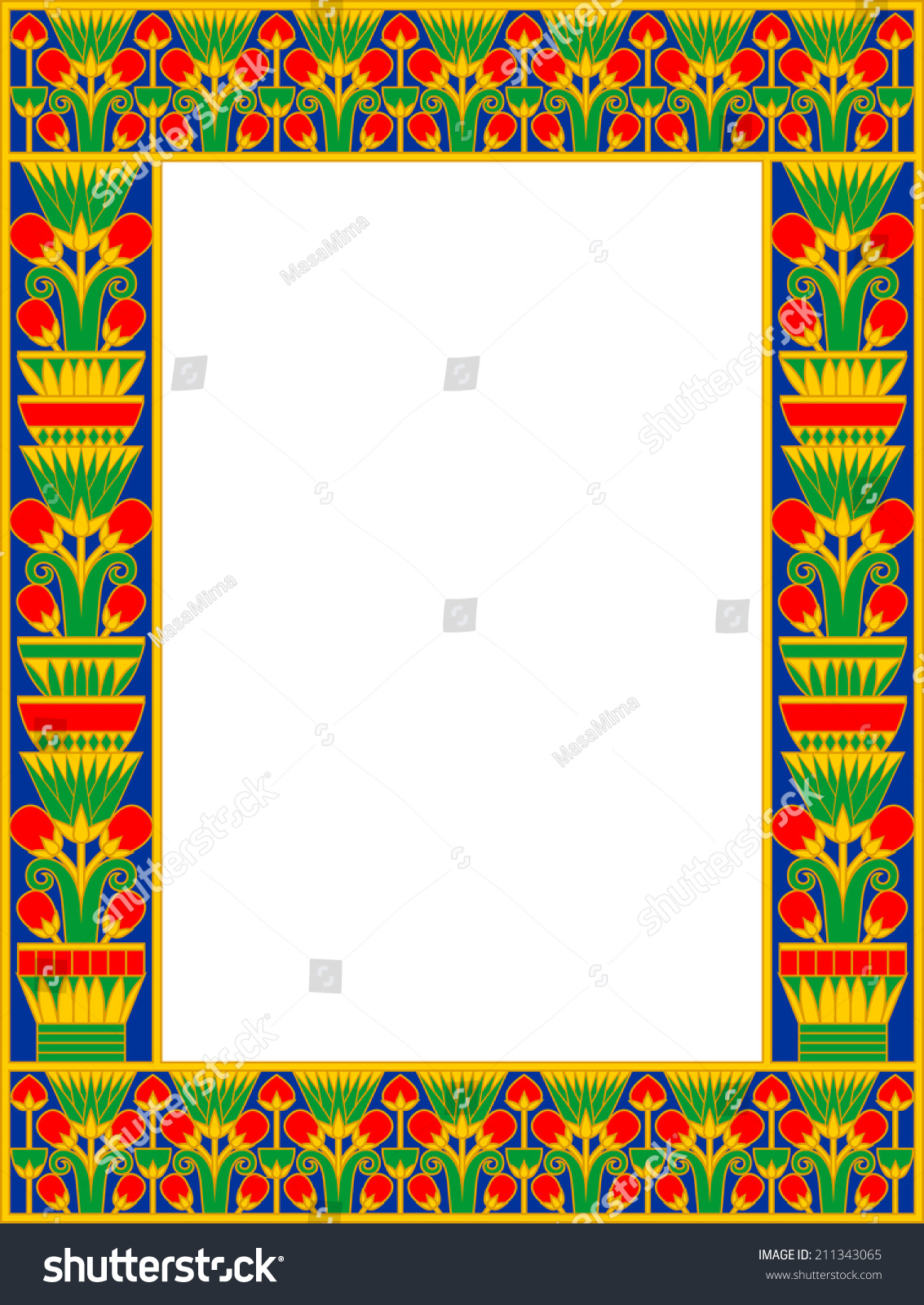 Egyptian Frame Papyrus Isolated On White Stock Photo (Photo, Vector ...