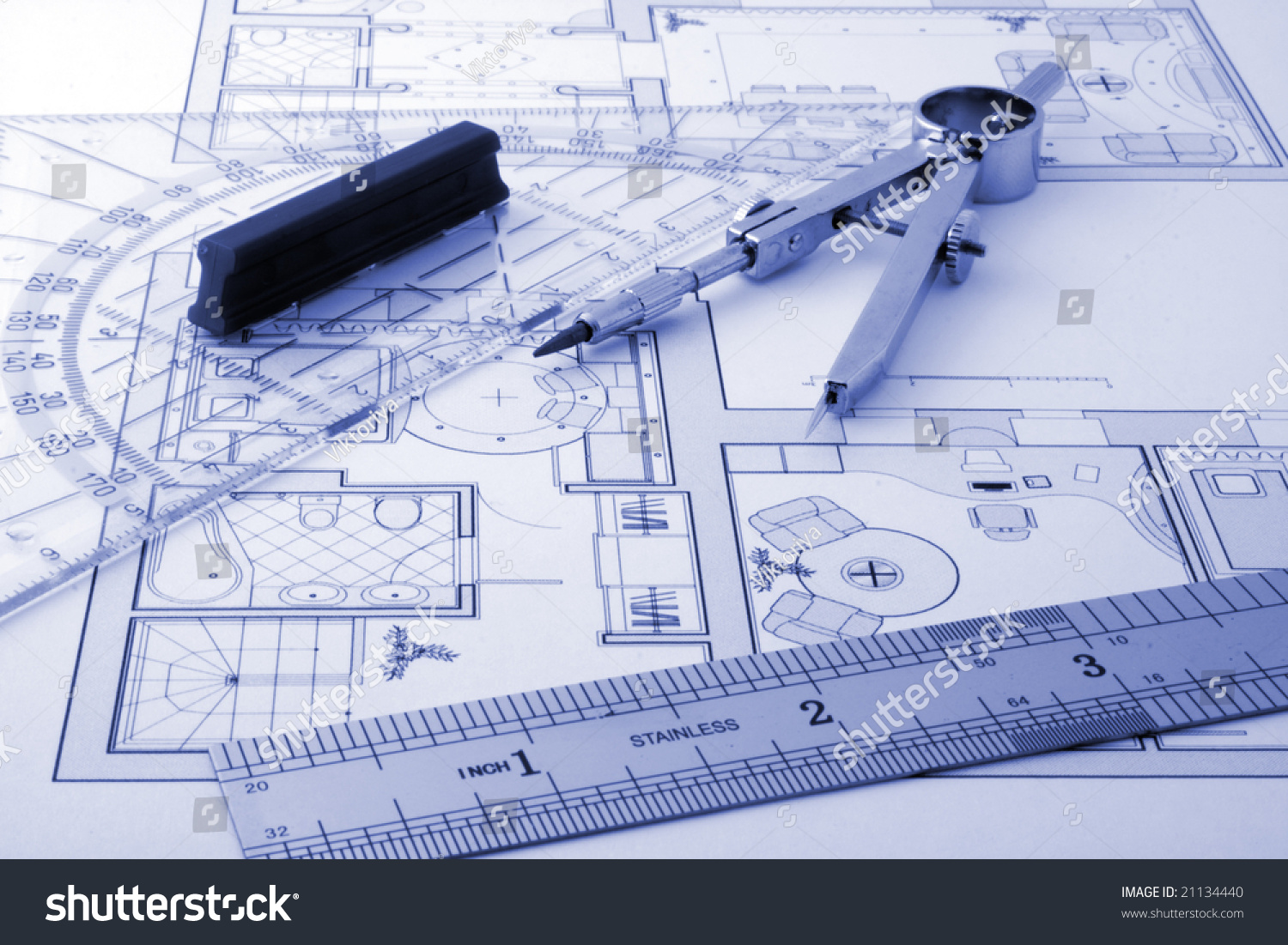 Architecture Drawing Instruments architecture blueprint drawing instruments stock photo 21134440