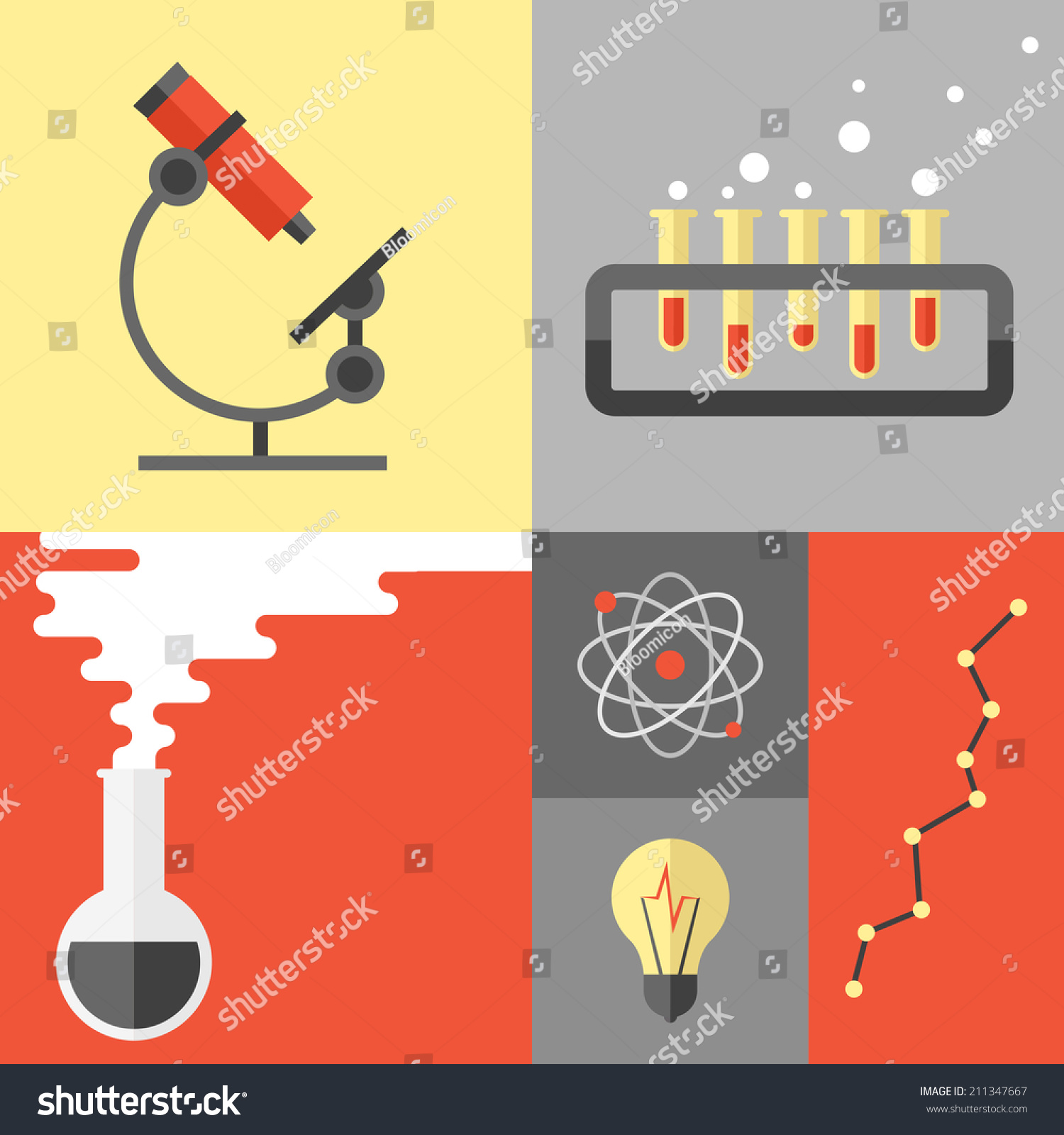 Poster design tools - Flat Design Poster Of Science Experiment And Research Analysis Chemistry Equipment And Tools Atom