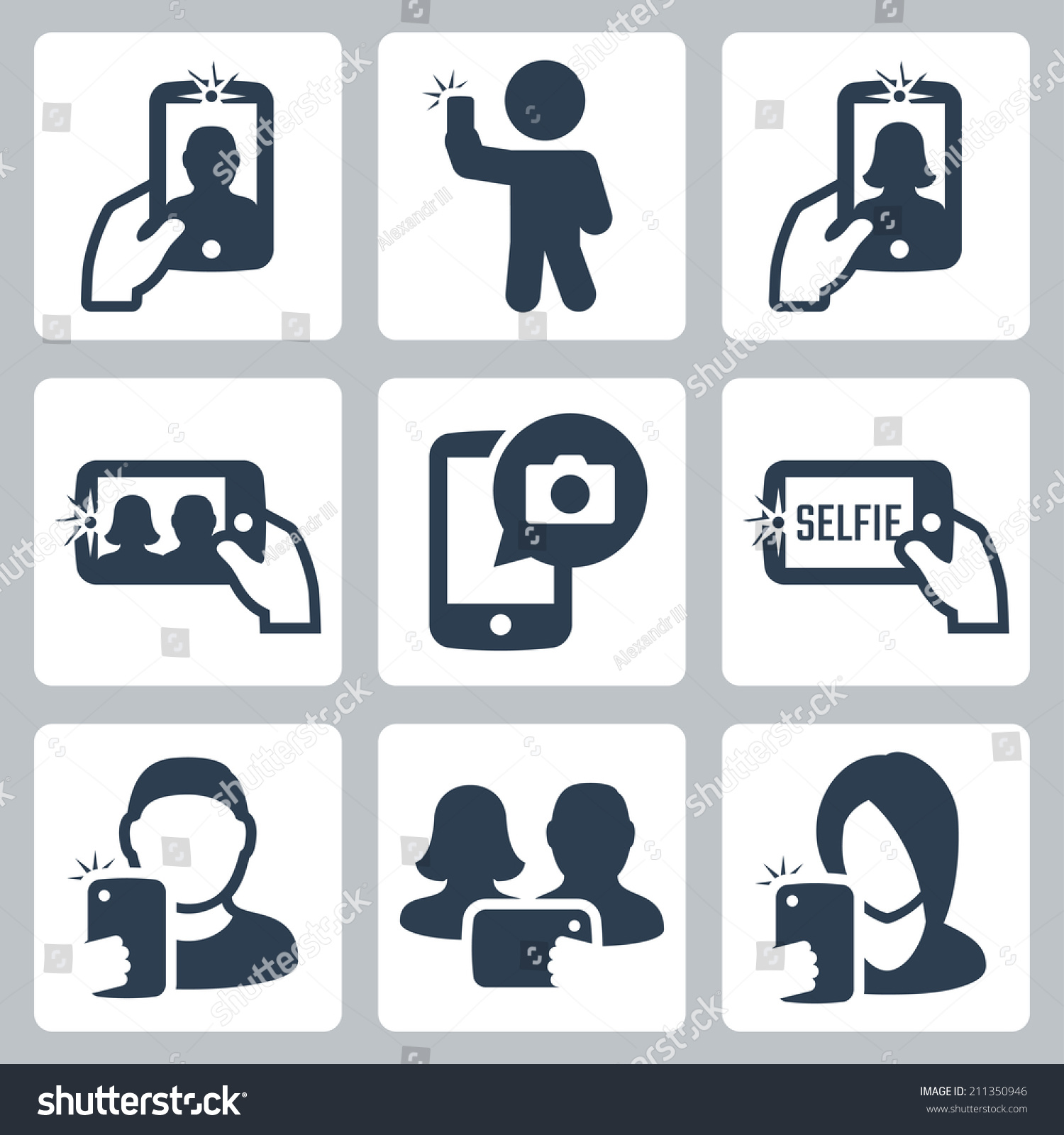 Selfie Related Vector Icons Set - 211350946 : Shutterstock
