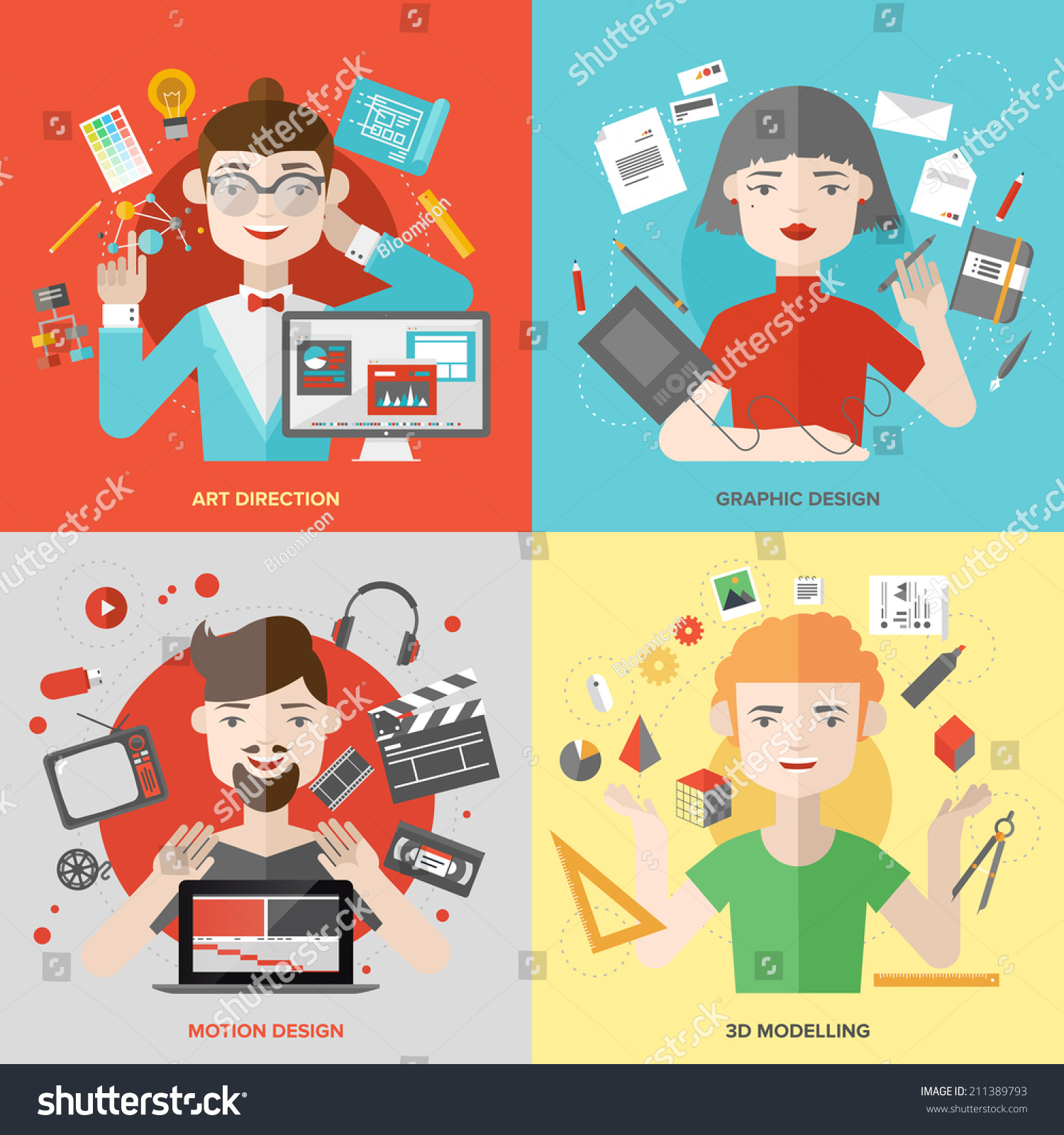 Flat design of creative people design occupations art for 3d flat design online