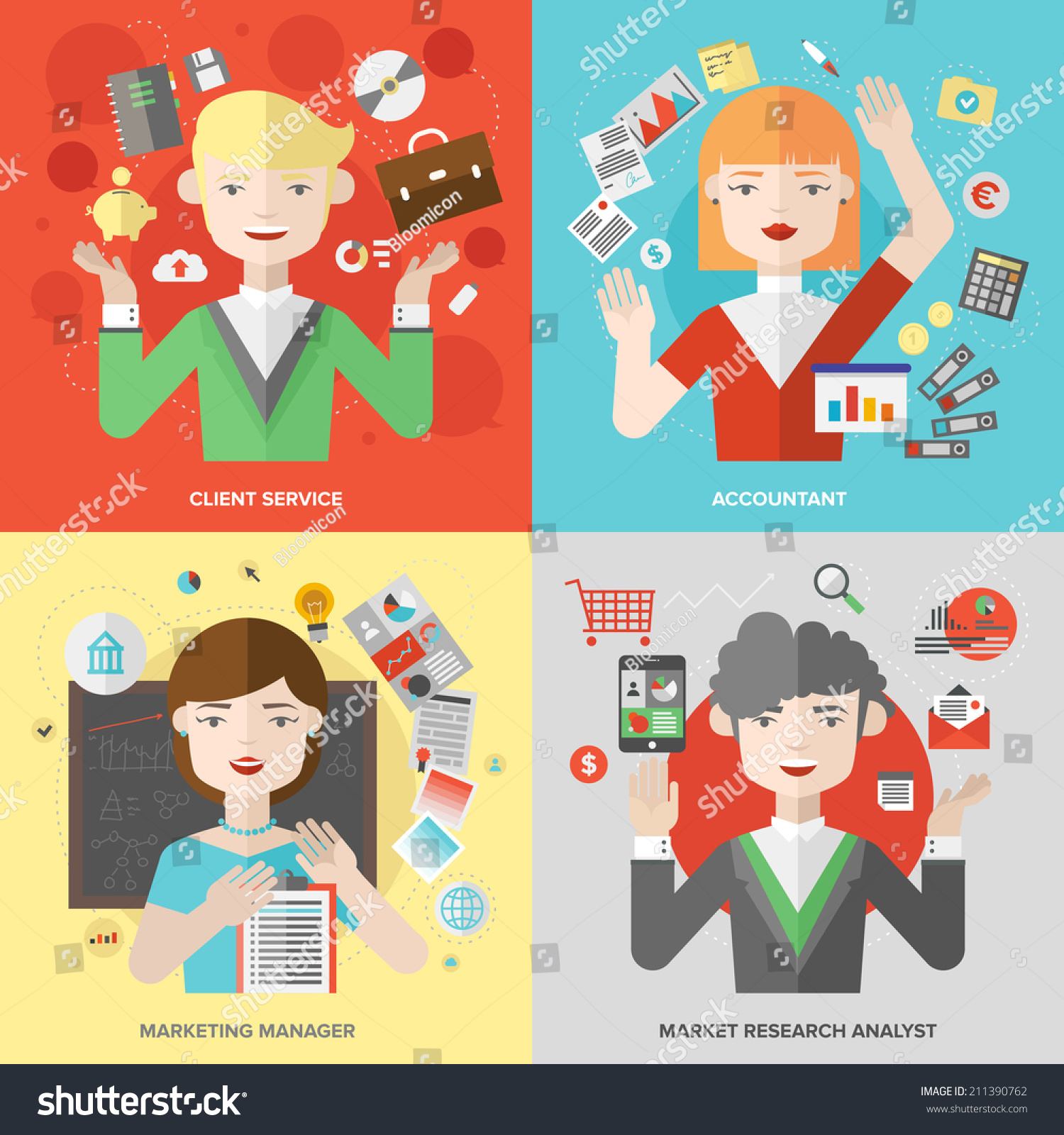 Flat Design Of Business People Jobs Marketing Professions