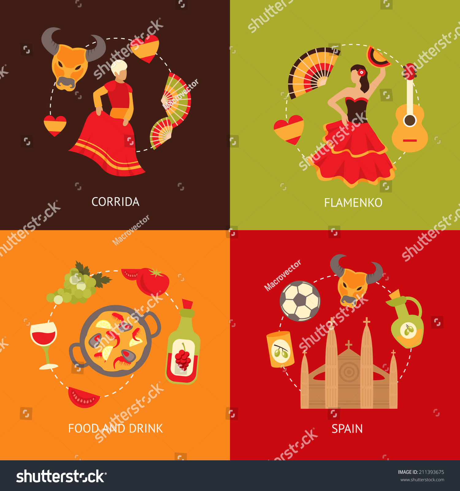 Spain Culture Symbols Corrida Bullfight Paella Stock Vector Royalty