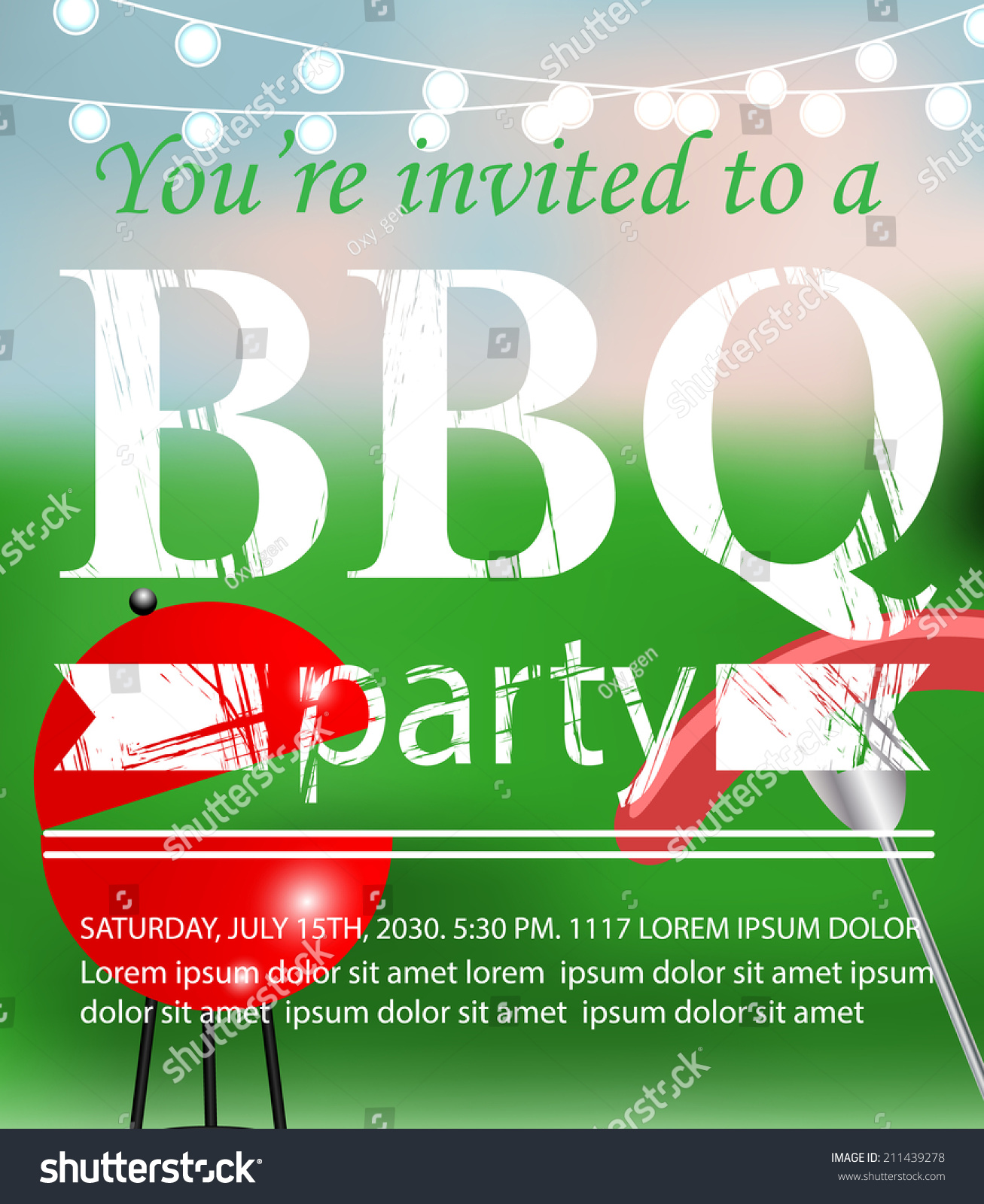Bbq Grill Party Invitation Template Vector Vector 211439278 – Bbq Invitation Template