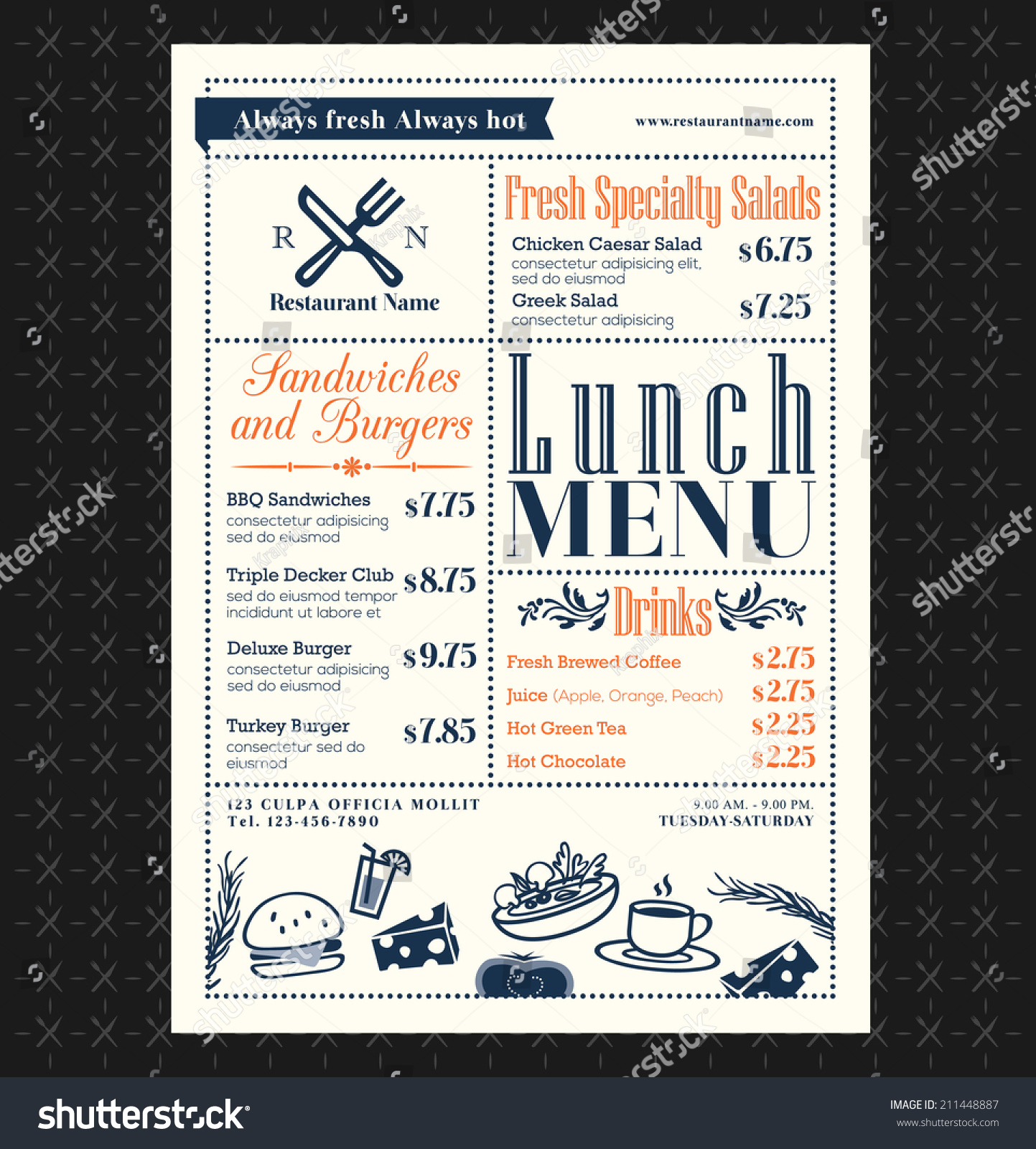 Retro Frame restaurant lunch menu design layout #211448887 - Larastock