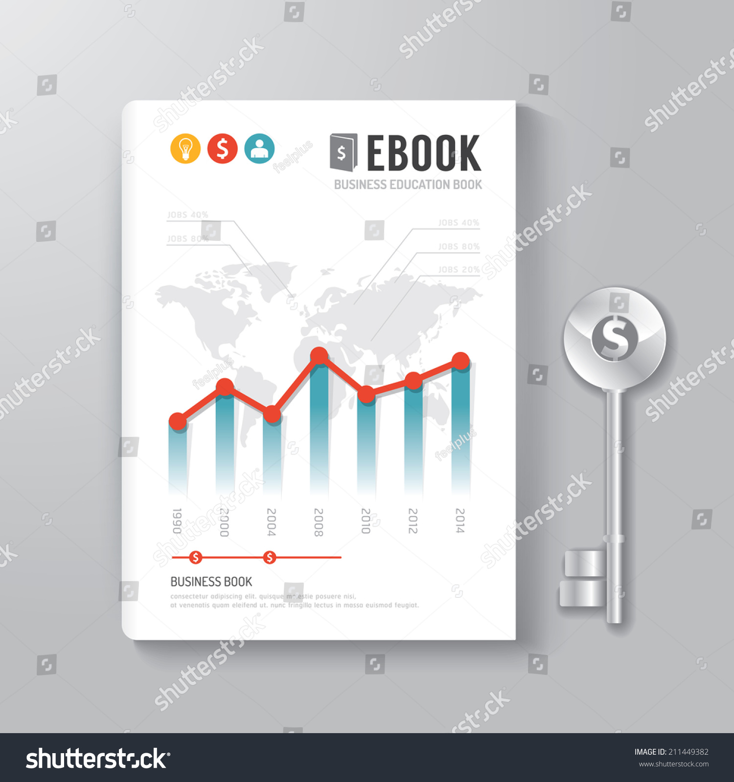 Book Cover Illustration Royalties : Cover book digital design template key of business concept