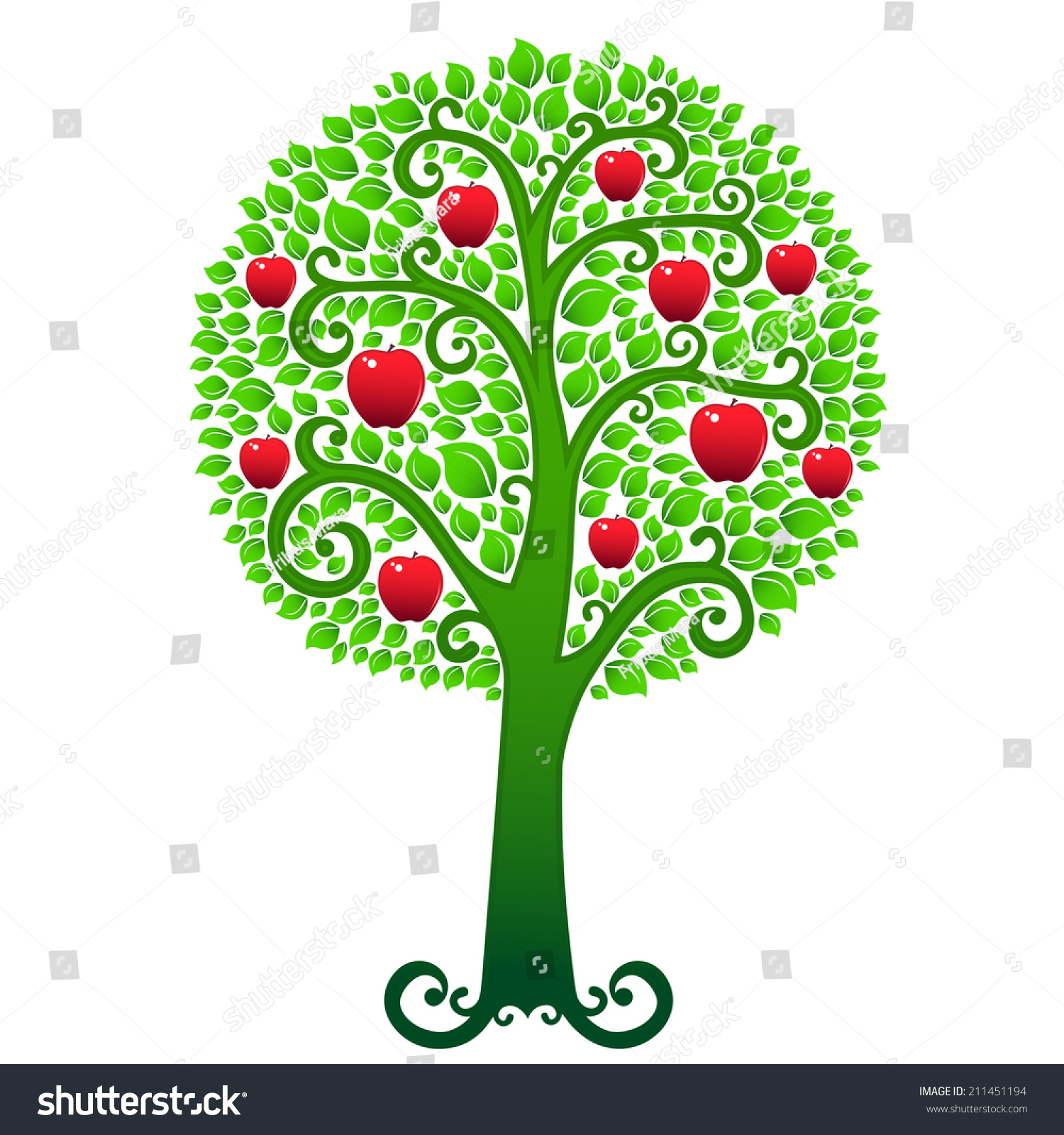 Vector Swirly Green Apple Tree Covered Stock Illustration 211451194