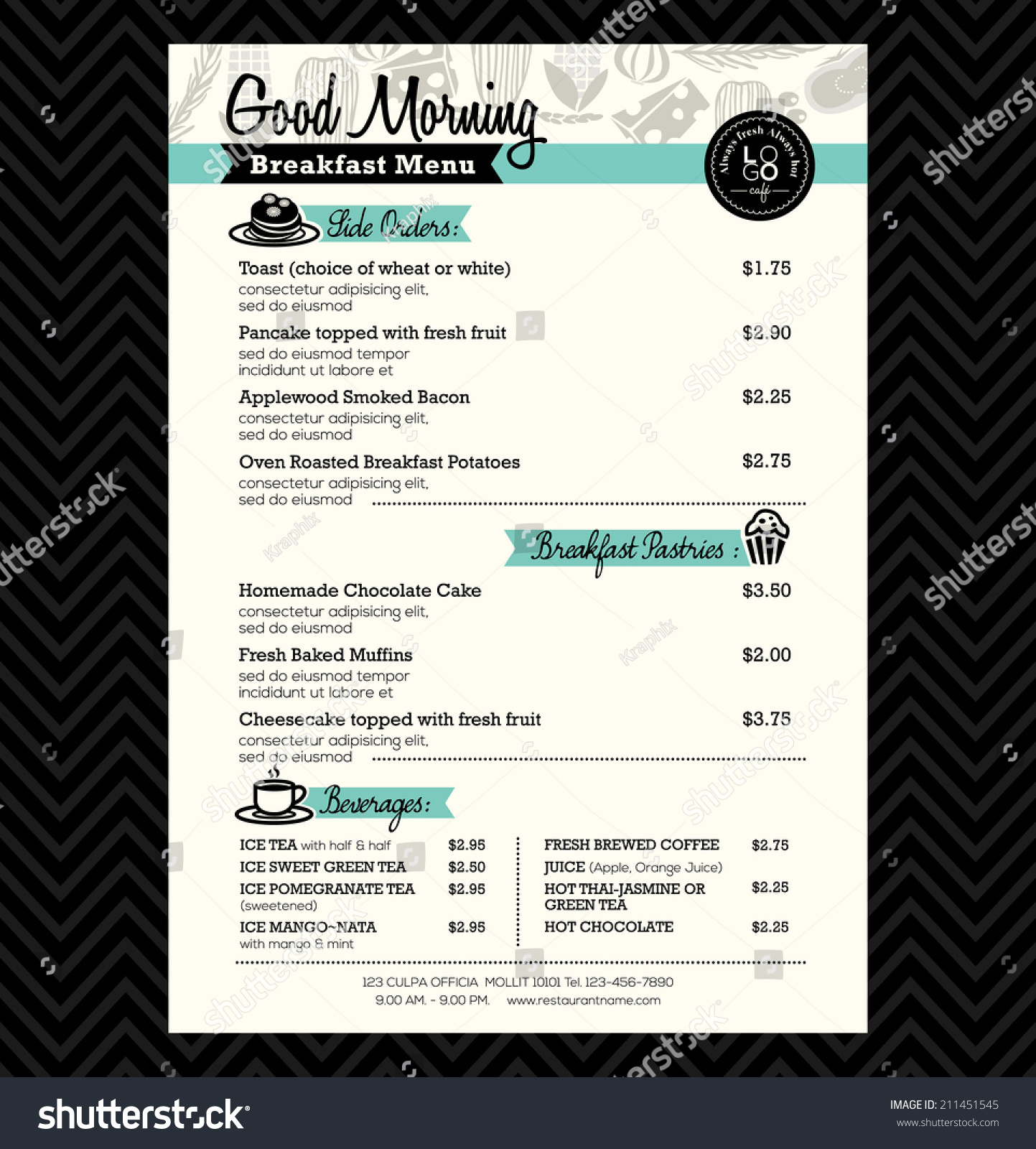 restaurant breakfast menu design template layout image vectorielle 211451545 shutterstock. Black Bedroom Furniture Sets. Home Design Ideas