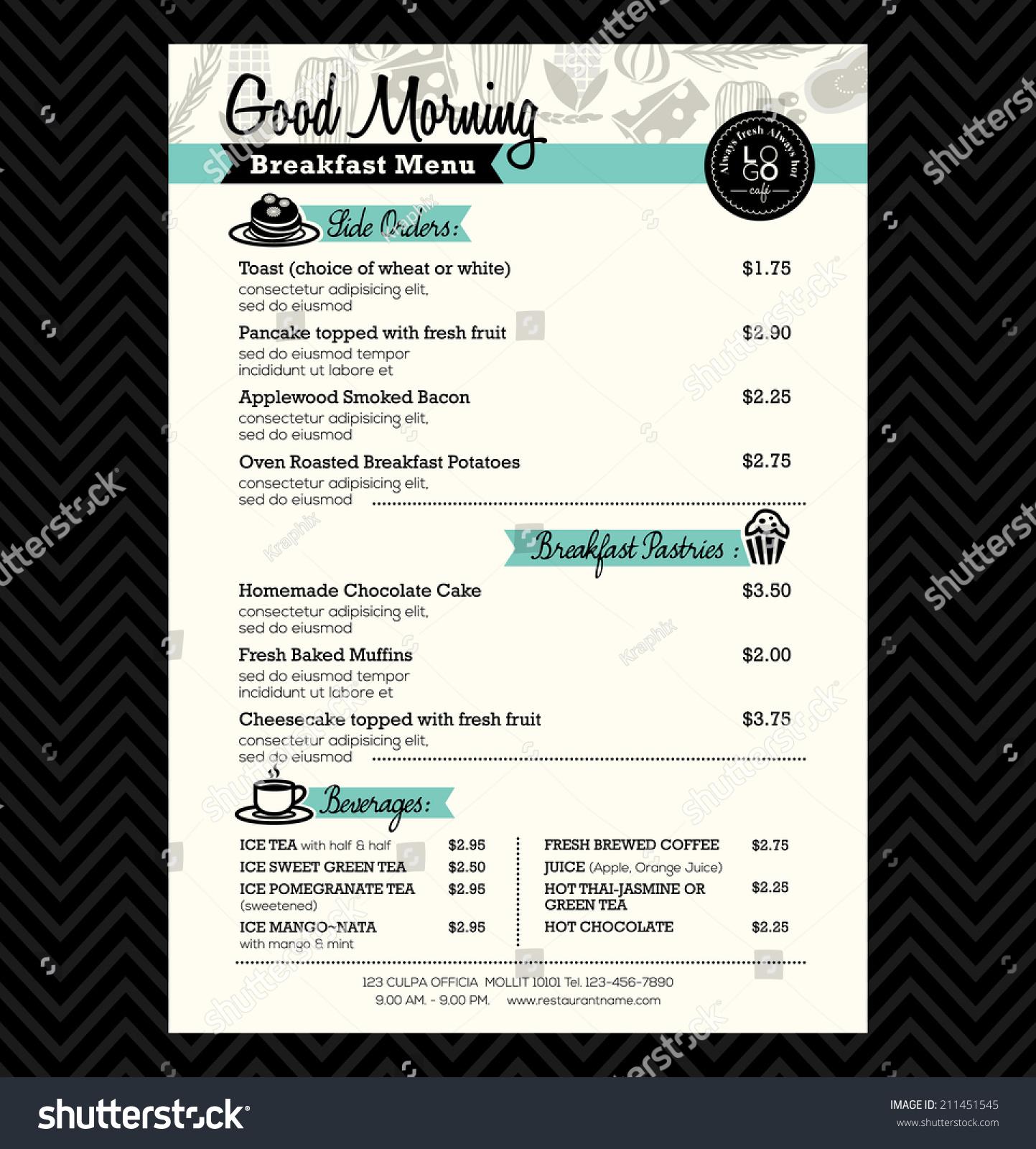 restaurant breakfast menu design template layout stock vector 211451545 shutterstock. Black Bedroom Furniture Sets. Home Design Ideas