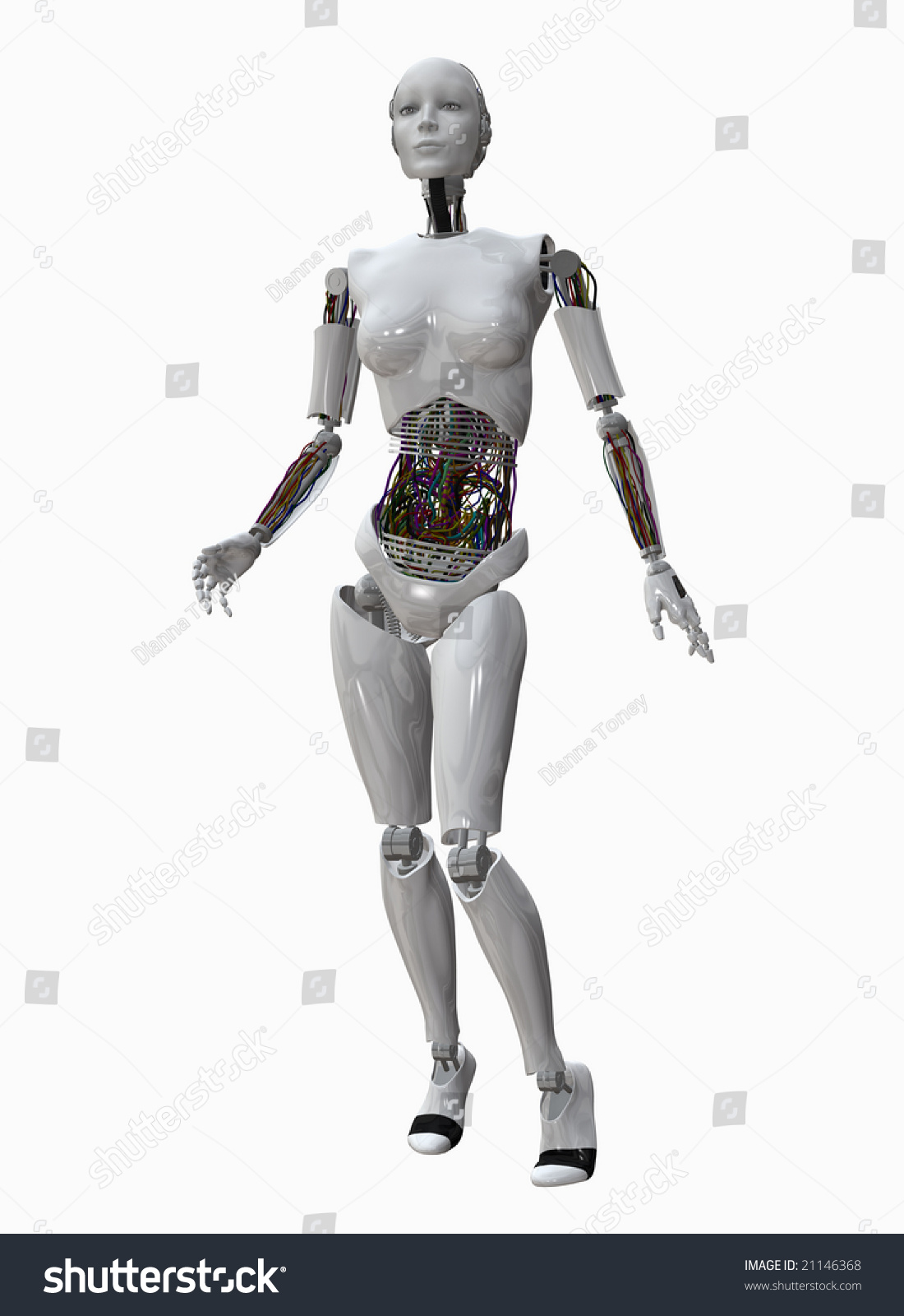 stock photo android style robot female with colorful wiring 21146368 android style robot female colorful wiring stock illustration,Wiring A Robot