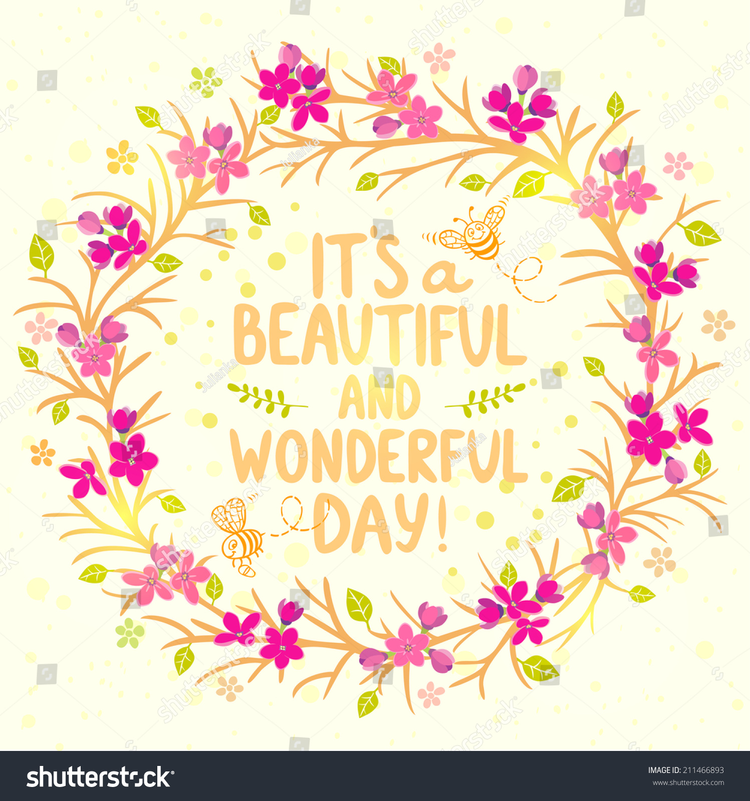 Stylish beautiful card wreath flowers cute stock vector royalty stylish beautiful card wreath flowers with cute cartoon bees and with text its a beautiful izmirmasajfo
