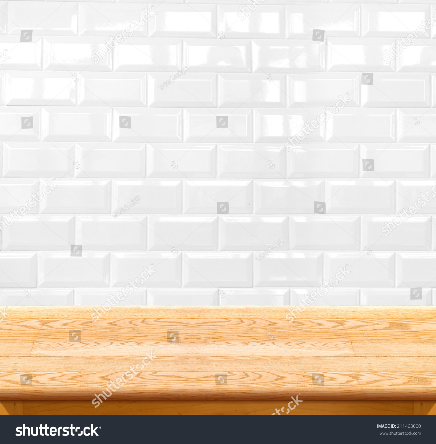 Empty wood table ceramic tile brick stock photo 211468000 empty wood table and ceramic tile brick wall in background product display template dailygadgetfo Gallery