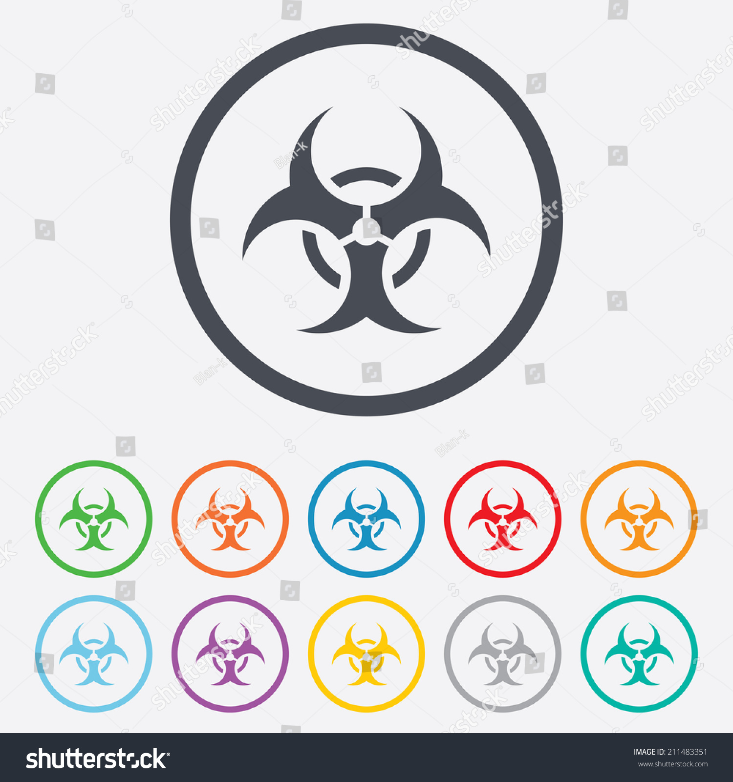 Illustration Of A Long Shadow Do Not Enter Icon With A Biohazard
