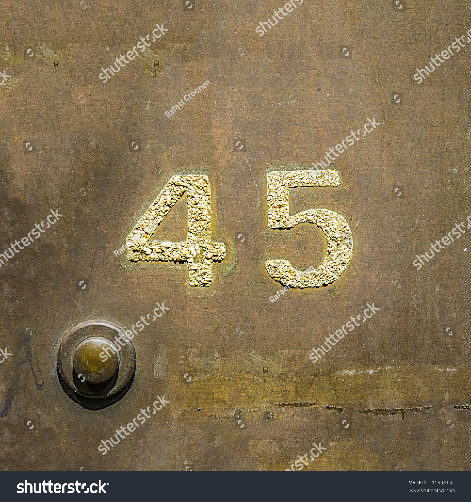 House number forty five on copper stock photo 211498132 shutterstock house number forty five on a copper plate next to a door bell buycottarizona Image collections