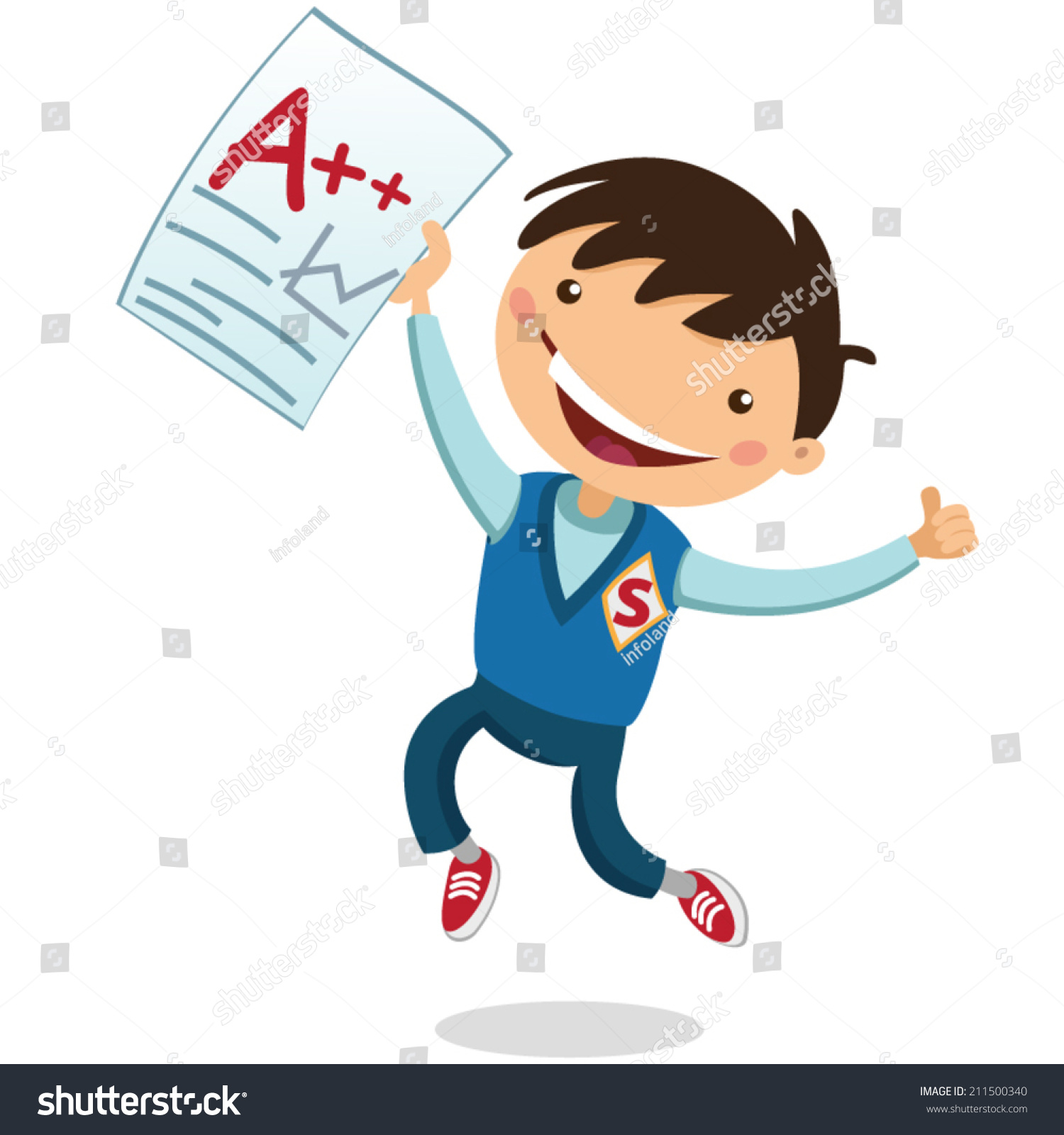 Joyful Boy Received Good Mark Stock Vector 211500340 ...
