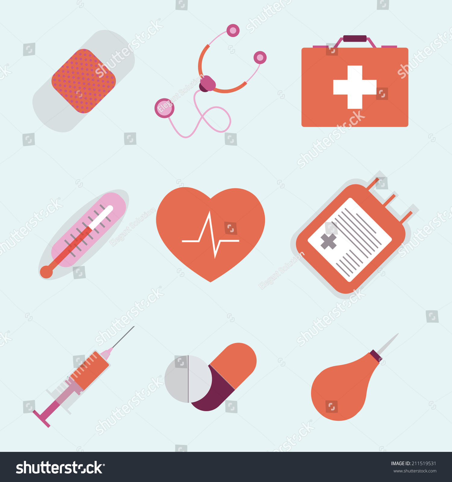 Vector Flat Set Icons Medical Emergency Stock Vector Royalty Free