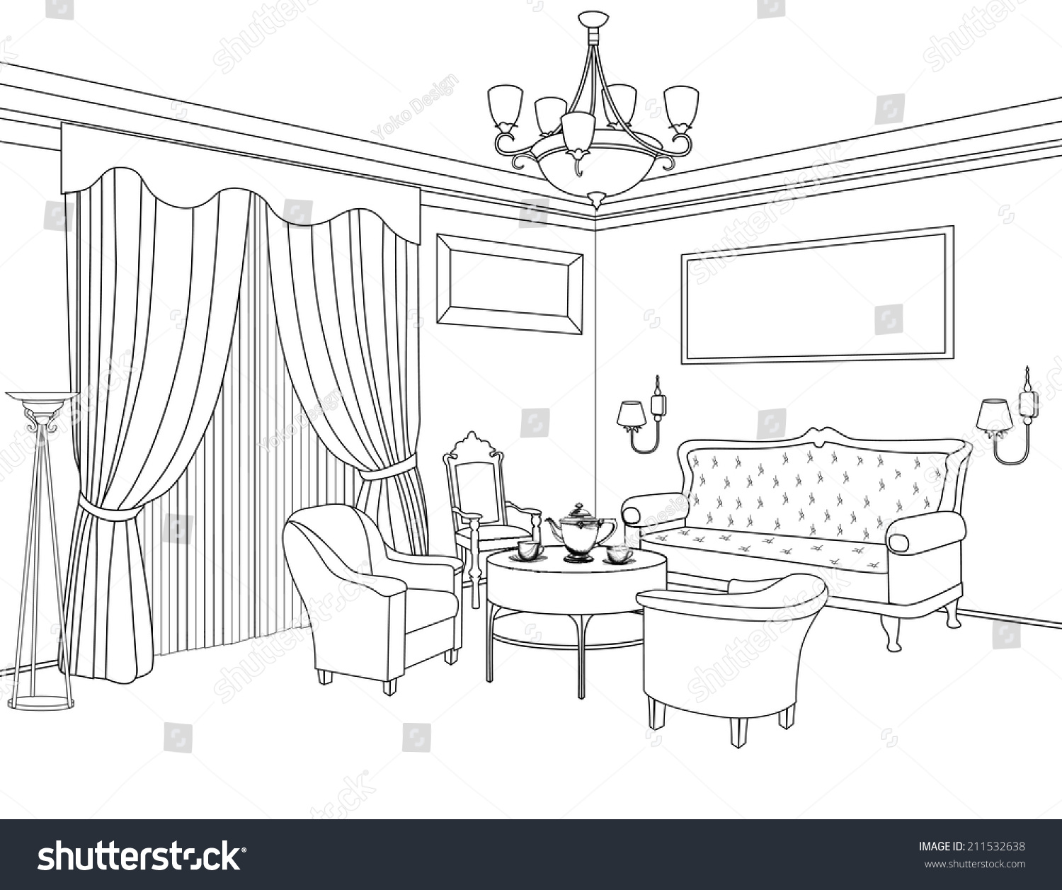 Interior Design Sketches Living Room interior outline sketch furniture blueprint architectural stock