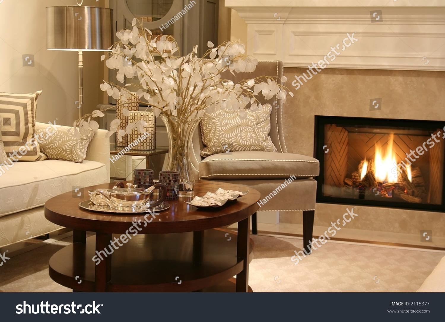 Elegant Living Room Fireplace On Stock Photo 2115377 Shutterstock