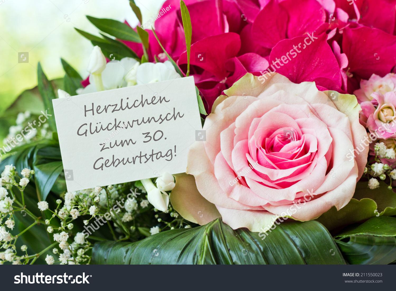 Royalty free german birthday card with pink flowers 211550023 german birthday card with pink flowerscongratulation on your 30th birthdaygerman 211550023 izmirmasajfo