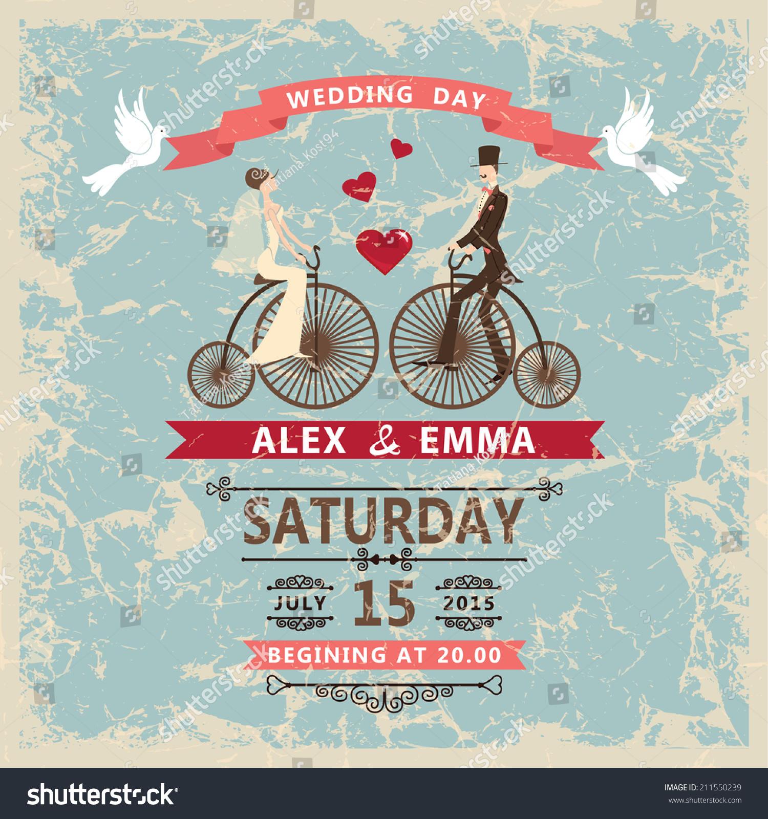 Retro Wedding Invitation Cute Cartoon Couple Groom Stock Vector ...