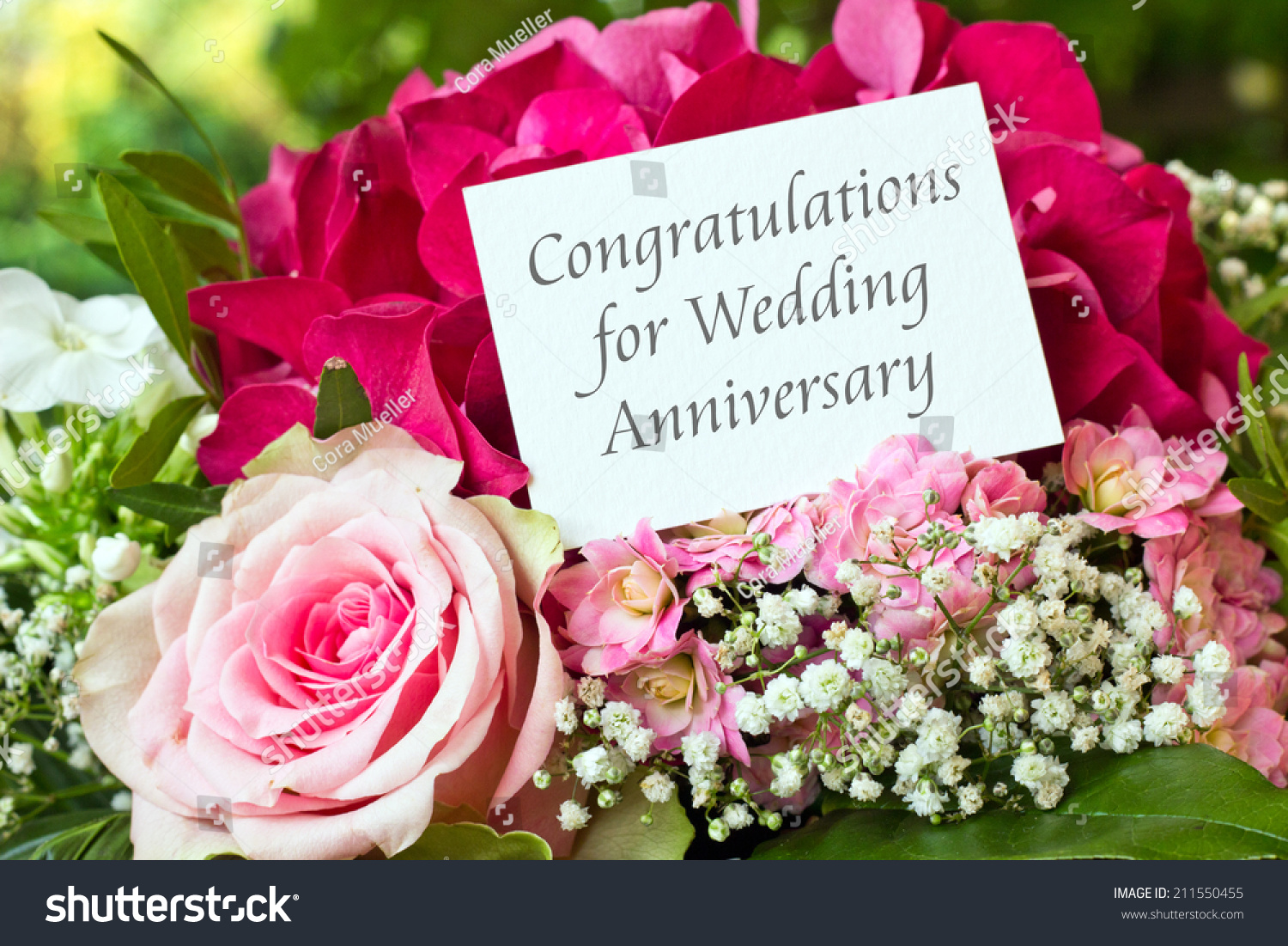 Wedding Anniversary Card With Pink Flowers Congratulations For Wedding