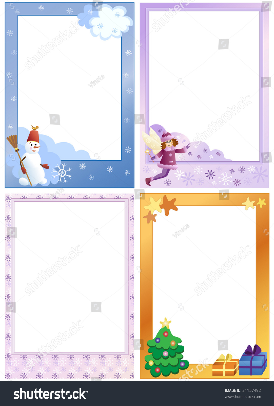 Photo Frames Kids Winter Theme Set Stock Vector 21157492 - Shutterstock
