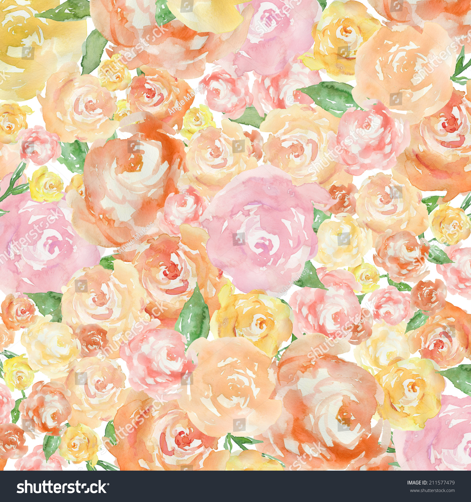 Bright Spring Floral Background Abstract Watercolor Stock ...