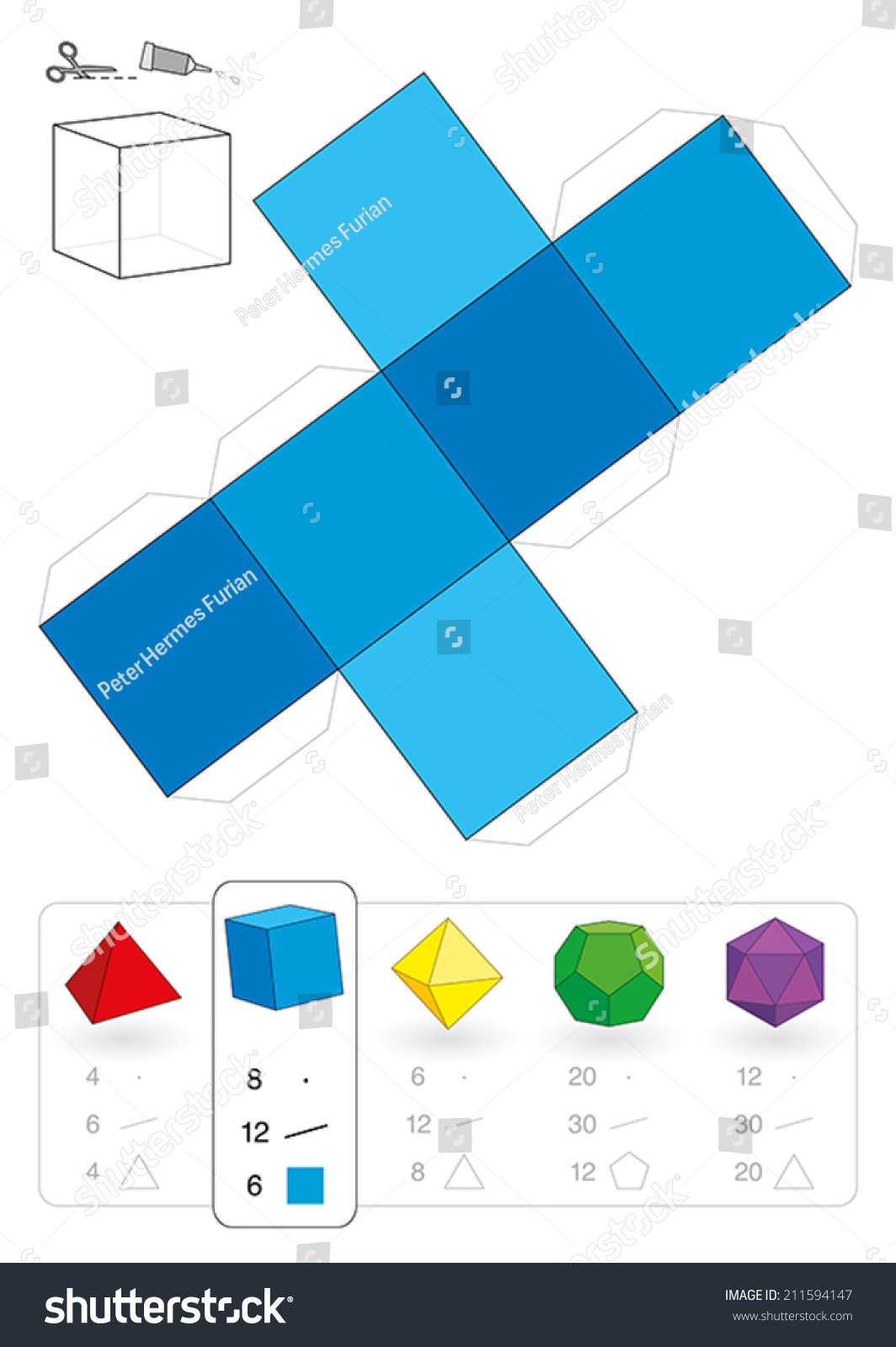 Paper model cube hexahedron one five stock vector for 3 dimensional cube template