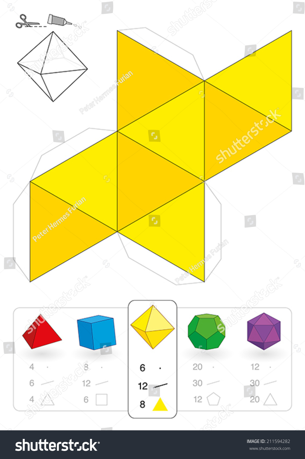 Paper Model Octahedron One Five Platonic Stock Vector Royalty Free