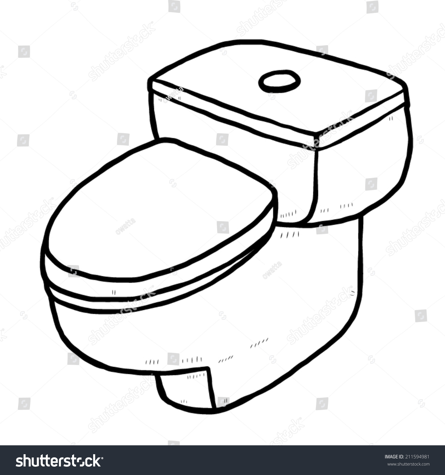 Flush Toilet Cartoon Vector Illustration Black Stock