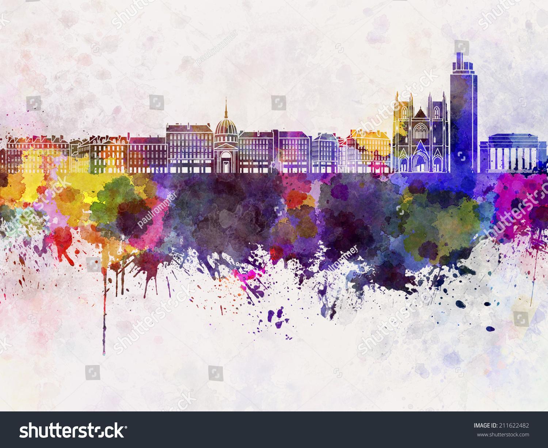 Color art nantes - Nantes Skyline In Watercolor Background