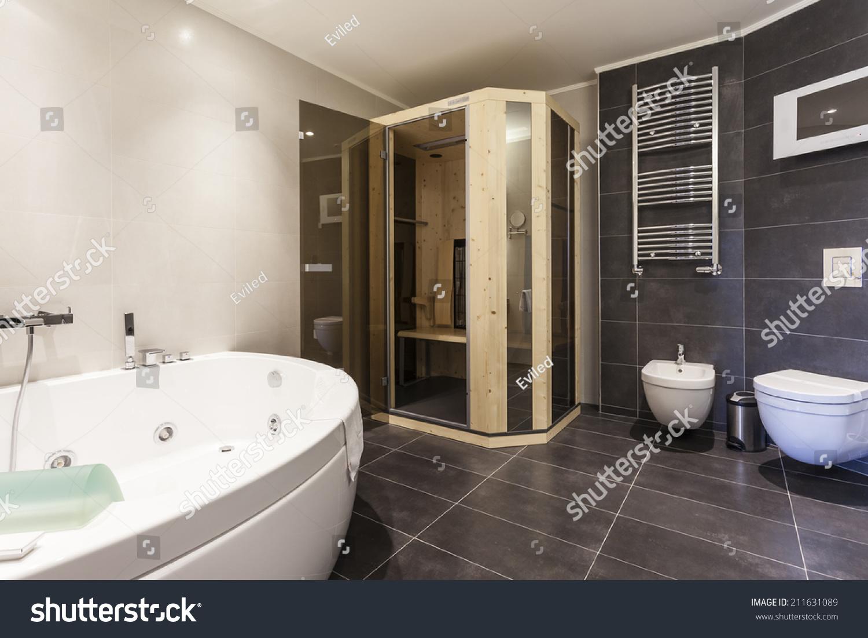 Modern Spacious Bathroom Interior Jacuzzi Bath Stock Photo (Royalty ...