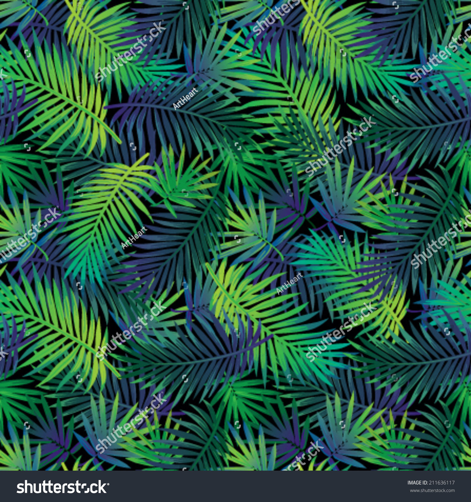 Seamless Tropical Jungle Floral Pattern Palm Stock Vector