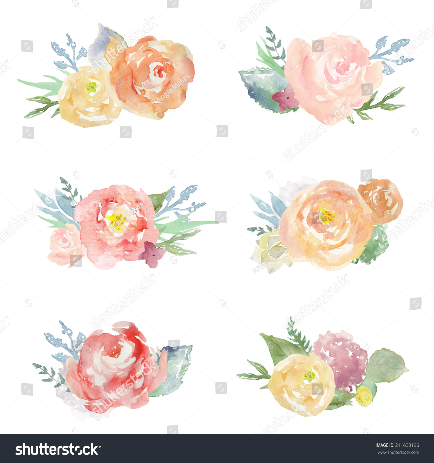 Royalty free stock illustration of collection cute painted collection of cute painted watercolor flower bouquets clip art on isolated white background izmirmasajfo