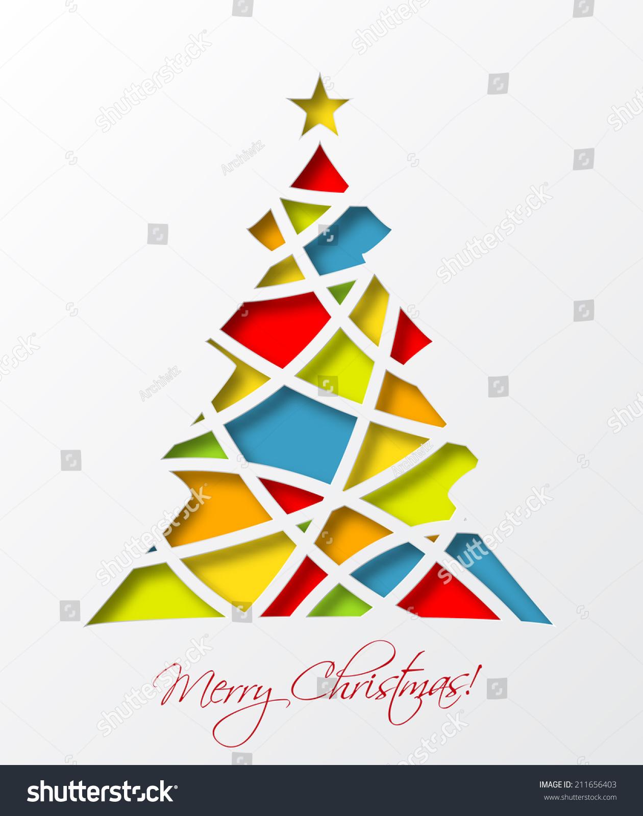 Christmas Card Template Colored Christmas Tree Stock