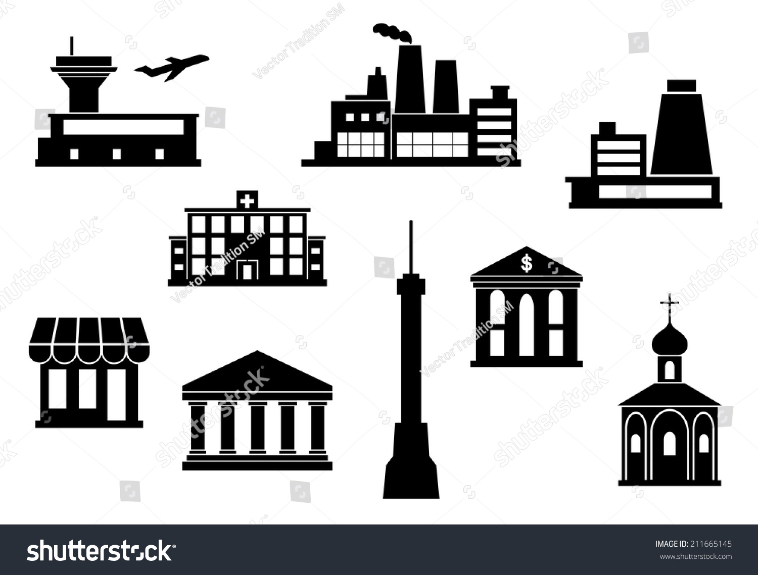 city building icons set airport tv stock vector 211665145 shutterstock. Black Bedroom Furniture Sets. Home Design Ideas