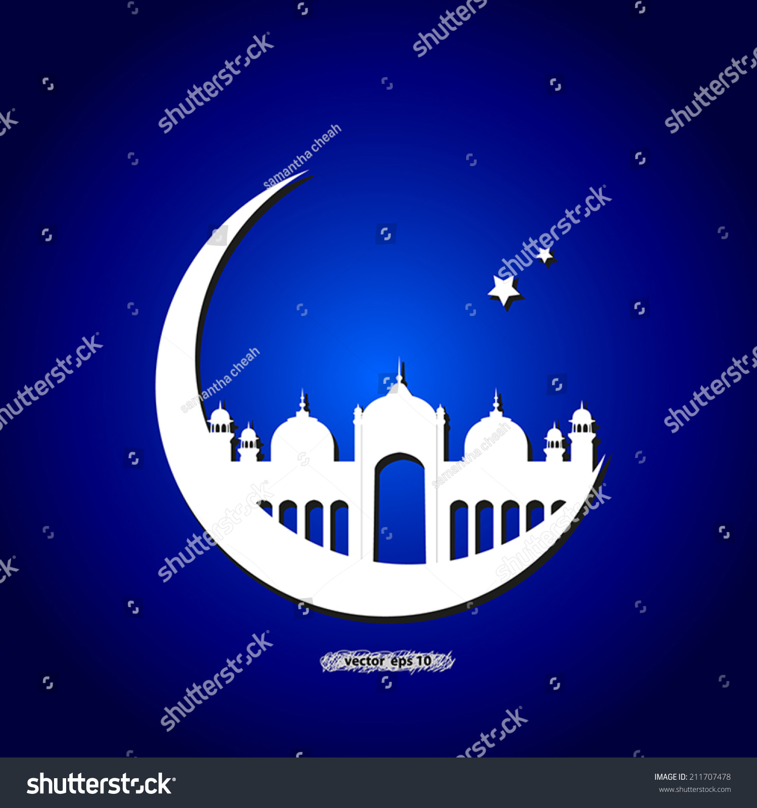 Mosque Moon Stars Over Blue Background Stock Vector (Royalty