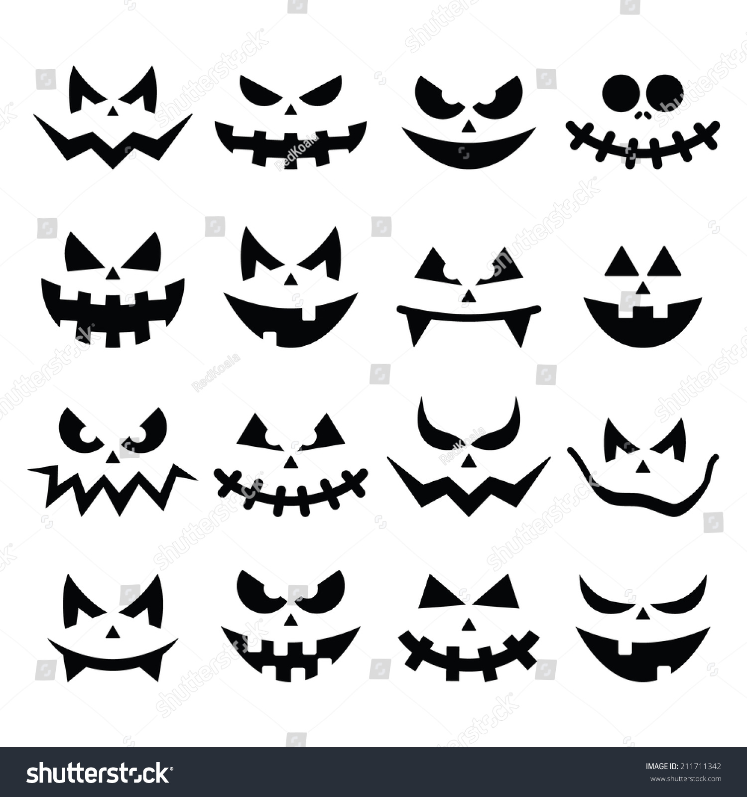 Scary halloween pumpkin faces icons set stock vector for Evil pumpkin face template