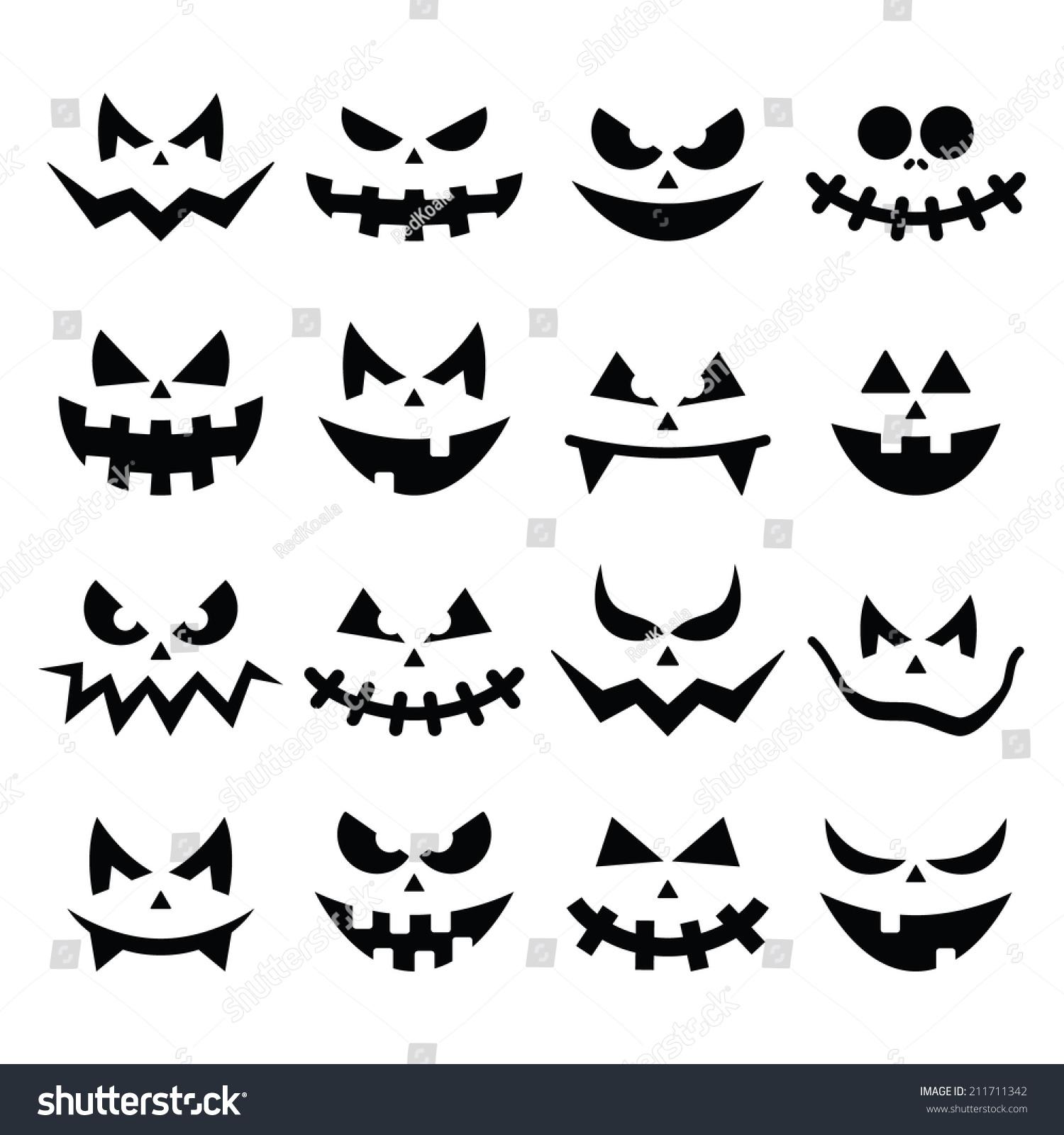 Scary halloween pumpkin faces icons set stock vector for Evil pumpkin face template