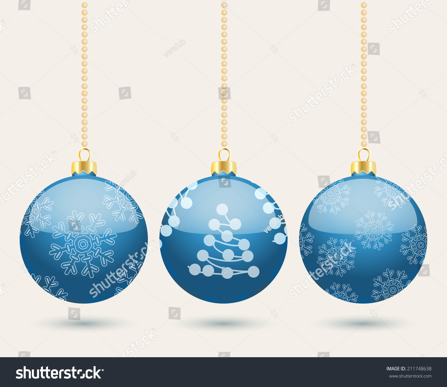 hanging blue christmas baubles background with three balls in a row with the centre one decorated - Blue Grey Christmas Decorations