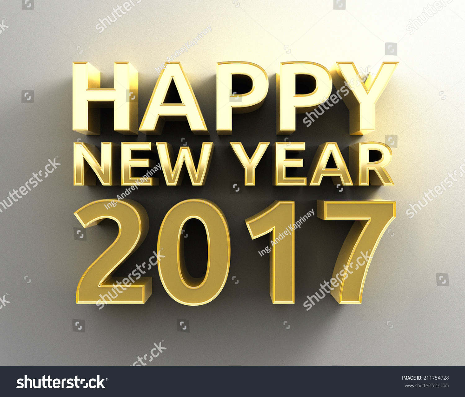 Gold 3D Happy New Year 2017 design template on the wall background ...