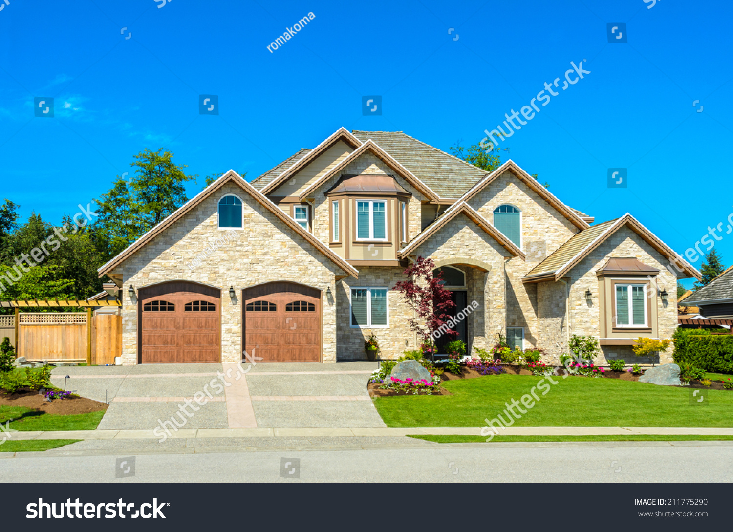 Big custom made luxury house nicely stock photo 211775290 for Large luxury homes