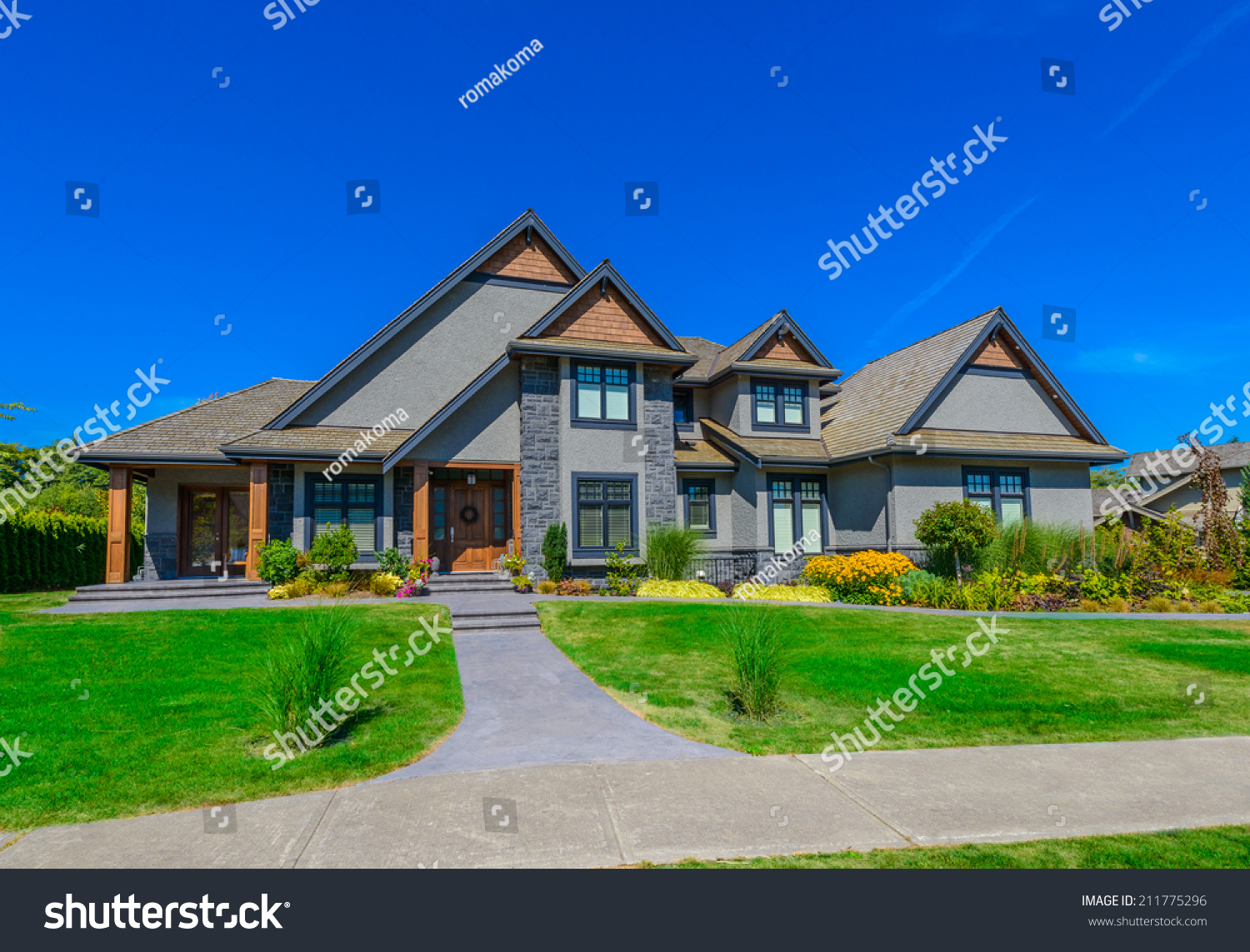 Big custom made luxury house nicely stock photo 211775296 for Custom mansions