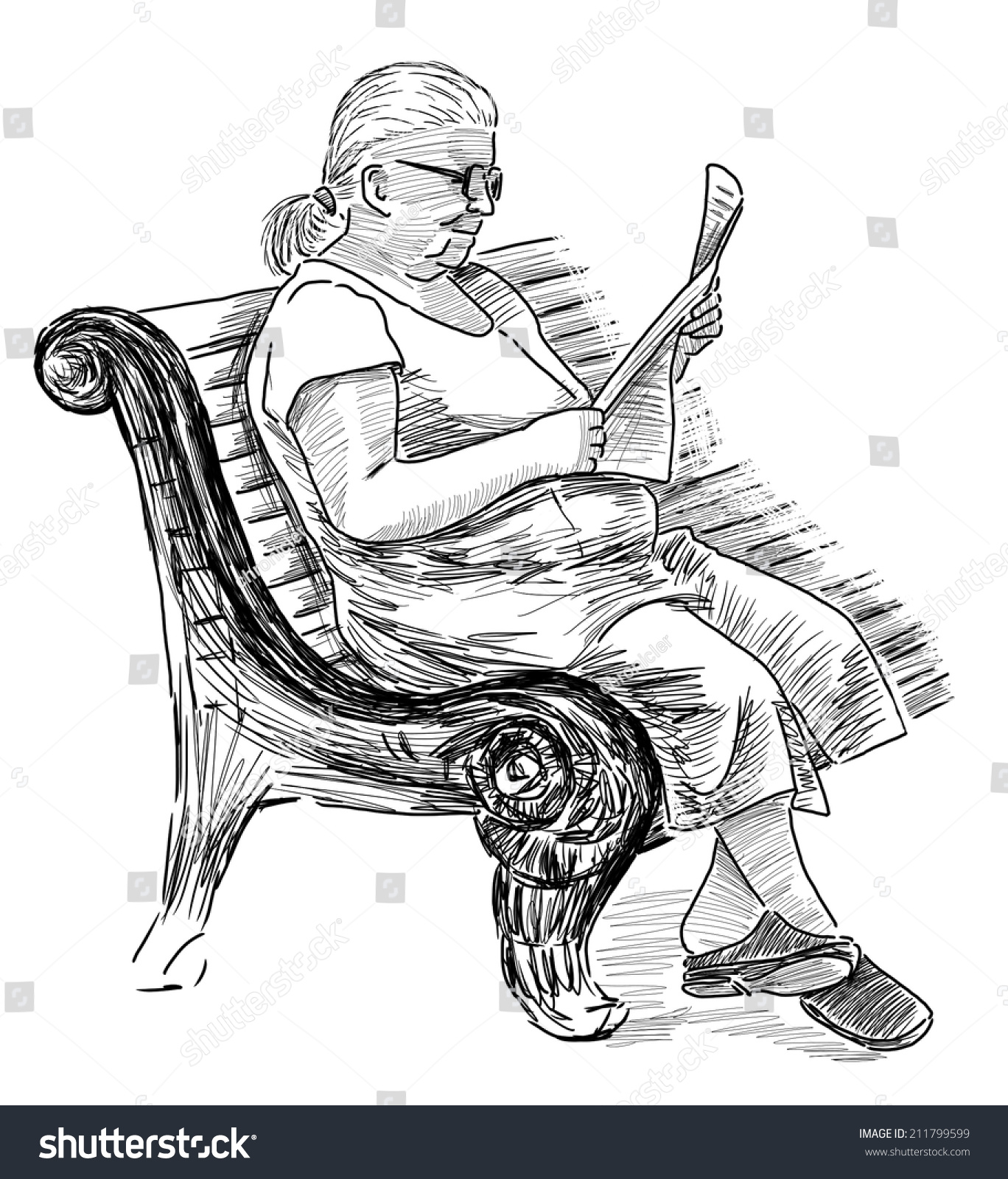old woman reading newspaper stock illustration 211799599 - shutterstock