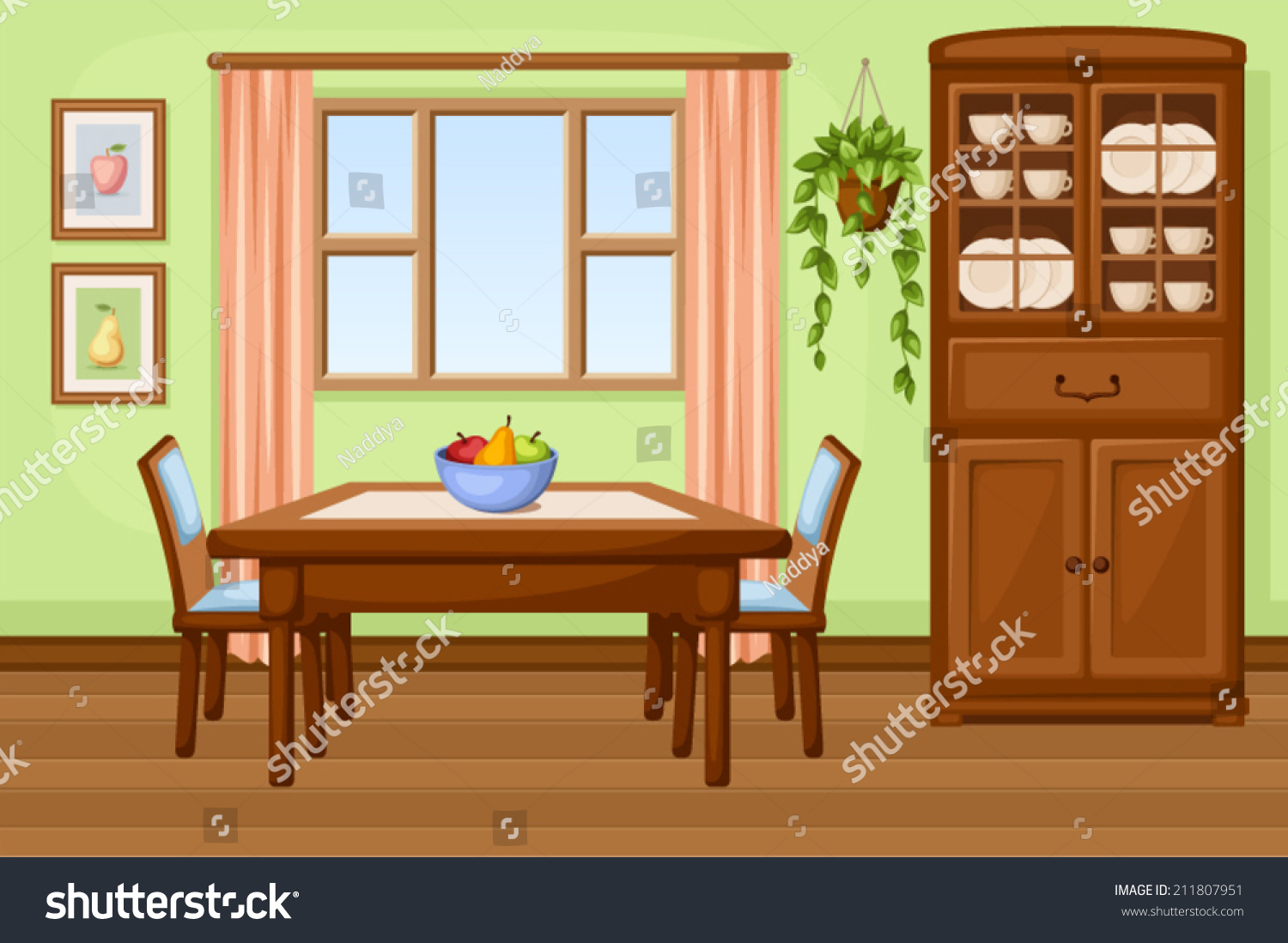 Dining room interior table cupboard vector stock vector for Room interior images