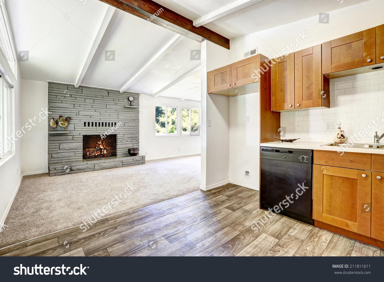 Kitchen Cabinets Black Appliances White Tile Stock Photo