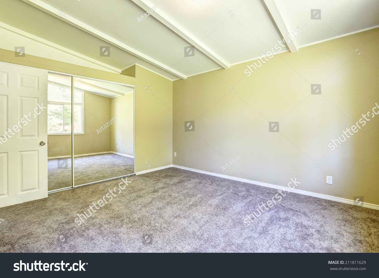 Pale purple contrast wall in empty room with carpet floor. Northwest ...