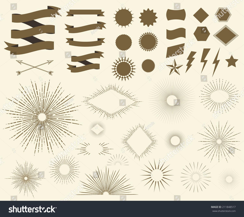 Art deco vintage sun burst frames stock vector 211848517 for Element deco design