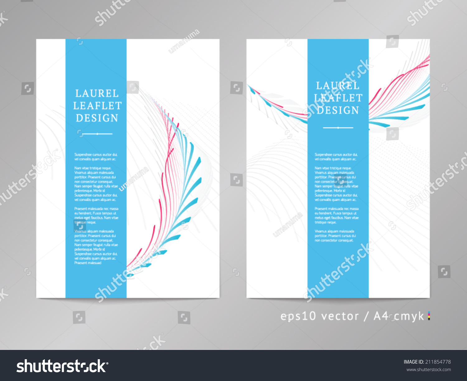Set two onecolumn double sided vector stock vector for Double sided brochure template
